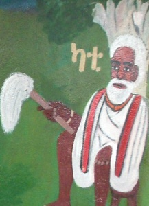 Paiting of a traditional leader on the walls of the Laska Museum