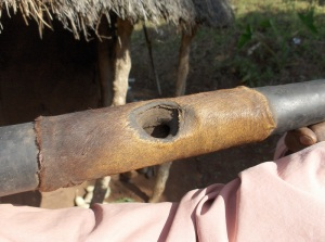 Mouth hole of a moyza-trumpet