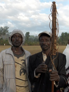 Two unknown men visiting the Timket ceremony on the Donki-field near Laska (Basketo Special Woreda)