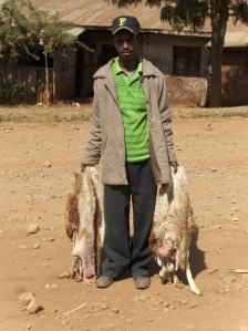 Man collecting skins on Christmas day in Laska (Basketo Special Woreda, Ethiopia)