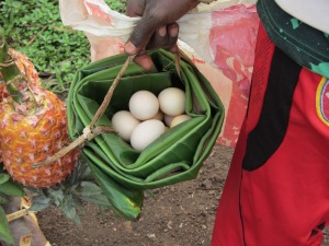 Egg transport in an enset basket (kiira)